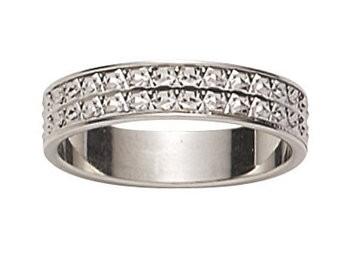 Alliance femme or blanc diamantée