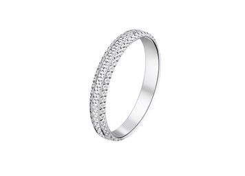 Alliance femme or blanc diamantée