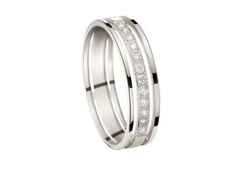 Alliance or blanc et diamants