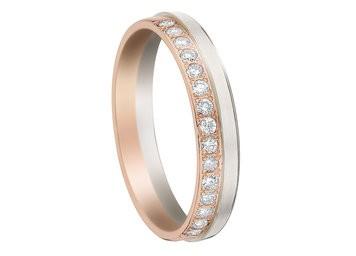 Alliance or blanc, rose et diamants