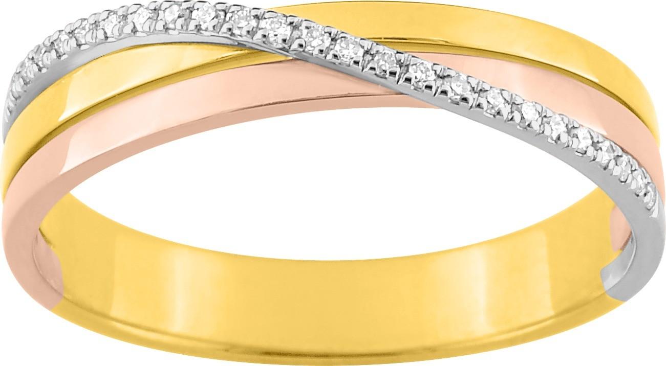 Alliance or blanc, jaune, rose et diamants