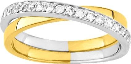 Alliance or blanc, jaune et diamants