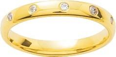 Alliance or jaune et diamants